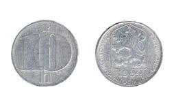 Νόμισμα της Τσεχοσλοβακίας, η ονομαστική αξία του haleru 10 Στοκ Φωτογραφίες