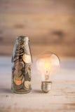 Νόμισμα της Mony στο μπουκάλι jpg Στοκ Φωτογραφία