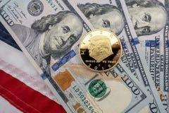 Νόμισμα του Ντόναλντ Τραμπ κλίμα $100 λογαριασμών και της Ηνωμένης σημα στοκ φωτογραφία με δικαίωμα ελεύθερης χρήσης