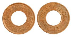 νόμισμα του 1943 ινδικό παλαιό p Στοκ Φωτογραφίες