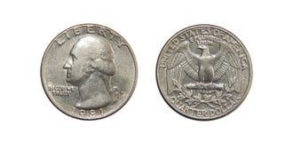 Νόμισμα των δολαρίων τετάρτων της Αμερικής στο απομονωμένο άσπρο υπόβαθρο Στοκ Εικόνες
