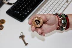Νόμισμα Bitcoin μετάλλων Στοκ εικόνα με δικαίωμα ελεύθερης χρήσης