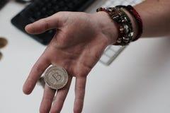 Νόμισμα Bitcoin μετάλλων Στοκ φωτογραφίες με δικαίωμα ελεύθερης χρήσης