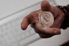 Νόμισμα Bitcoin μετάλλων Στοκ εικόνες με δικαίωμα ελεύθερης χρήσης