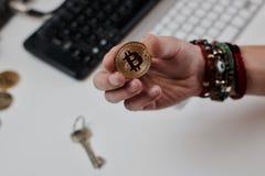 Νόμισμα Bitcoin μετάλλων Στοκ Εικόνα