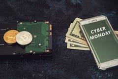Νόμισμα Bitcoin με HDD Στοκ Εικόνες