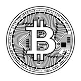 Νόμισμα Bitcoin σε γραπτό Στοκ Φωτογραφία