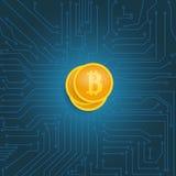 Νόμισμα bitcoin στη μητρική κάρτα ελεύθερη απεικόνιση δικαιώματος