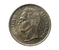 5 νόμισμα Bolivares, τράπεζα της Βενεζουέλας Obverse, 1977 στοκ φωτογραφία