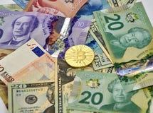 Νόμισμα cryptocurrency Bitcoin Στοκ Φωτογραφίες