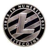 Νόμισμα Lite , ασημένιο νόμισμα Lite που απομονώνεται στο άσπρο υπόβαθρο , συνδετήρας Στοκ Εικόνες