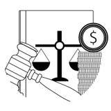 Νόμος δωροδοκίας δικαστικός διανυσματική απεικόνιση