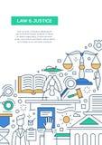 Νόμος και δικαιοσύνη - πρότυπο αφισών φυλλάδιων σχεδίου γραμμών A4 απεικόνιση αποθεμάτων