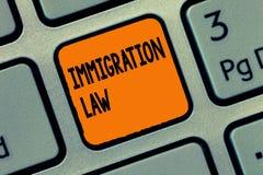 Νόμος μετανάστευσης γραψίματος κειμένων γραφής Η έννοια που σημαίνει την αποδημία ενός πολίτη θα είναι νόμιμη στην παραγωγή του τ στοκ φωτογραφία με δικαίωμα ελεύθερης χρήσης