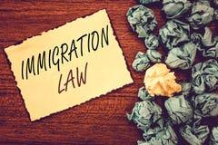 Νόμος μετανάστευσης κειμένων γραψίματος λέξης Η επιχειρησιακή έννοια για την αποδημία ενός πολίτη θα είναι νόμιμη στην παραγωγή τ στοκ φωτογραφία με δικαίωμα ελεύθερης χρήσης