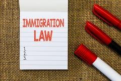 Νόμος μετανάστευσης κειμένων γραψίματος λέξης Η επιχειρησιακή έννοια για την αποδημία ενός πολίτη θα είναι νόμιμη στην παραγωγή τ στοκ εικόνες