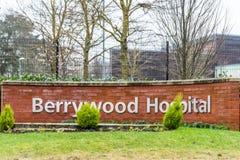 Νόρθαμπτον UK στις 13 Ιανουαρίου 2018: Θέση σημαδιών λογότυπων νοσοκομείων Berrywood Στοκ Φωτογραφίες