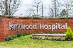 Νόρθαμπτον UK στις 13 Ιανουαρίου 2018: Θέση σημαδιών λογότυπων νοσοκομείων Berrywood Στοκ Φωτογραφία