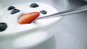 Νόστιμα γιαούρτια βακκινίων, φραουλών και γάλακτος με τα μούρα και μέντα γύρω στο άσπρο υπόβαθρο φιλμ μικρού μήκους