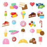 Νόστιμα γλυκά καθορισμένα διανυσματική απεικόνιση