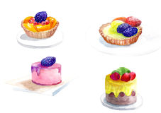 Νόστιμα και juicy κέικ με τα κομμάτια των φρούτων και των μούρων Στοκ φωτογραφίες με δικαίωμα ελεύθερης χρήσης