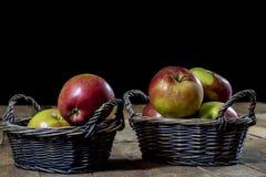 Νόστιμα μήλα στο καλάθι στον πίνακα κουζινών δασική εποχή μονοπατιών πτώσης φθινοπώρου Στοκ φωτογραφία με δικαίωμα ελεύθερης χρήσης
