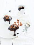 Νόστιμα σπιτικά καφετιά muffins με τη σοκολάτα Στοκ Εικόνες