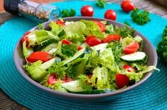 Νόστιμη διαιτητική σαλάτα βιταμινών με τα φρέσκα αγγούρια, ντομάτες, πράσινα Σαλάτα από τα οργανικά λαχανικά στοκ φωτογραφία με δικαίωμα ελεύθερης χρήσης