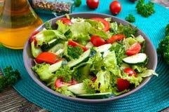 Νόστιμη διαιτητική σαλάτα βιταμινών με τα φρέσκα αγγούρια, ντομάτες, πράσινα Σαλάτα από τα οργανικά λαχανικά στοκ εικόνες