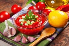 Νόστιμη χορτοφάγος σούπα gazpacho Στοκ εικόνες με δικαίωμα ελεύθερης χρήσης