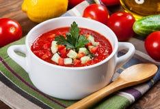 Νόστιμη χορτοφάγος σούπα gazpacho Στοκ φωτογραφία με δικαίωμα ελεύθερης χρήσης