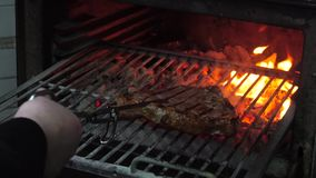 Νόστιμη ψημένη στη σχάρα μπριζόλα στο φούρνο απόθεμα βίντεο