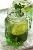 Νόστιμος κρύος φρέσκος πίνει τη λεμονάδα με το λεμόνι, τη μέντα, τον πάγο και τον ασβέστη ι Στοκ Φωτογραφία