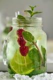 Νόστιμος κρύος φρέσκος πίνει τη λεμονάδα με το σμέουρο, τη μέντα, τον πάγο και το λι Στοκ φωτογραφίες με δικαίωμα ελεύθερης χρήσης