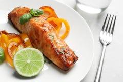 Νόστιμος μαγειρευμένος σολομός με τα λαχανικά στο πιάτο στοκ εικόνα με δικαίωμα ελεύθερης χρήσης