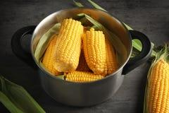 Νόστιμος που βράζεται corncobs στην κατσαρόλλα στοκ φωτογραφία με δικαίωμα ελεύθερης χρήσης
