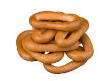 Νόστιμος σωρός δαχτυλιδιών ψωμιού που απομονώνεται στο λευκό Στοκ Εικόνα