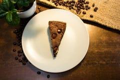 Νόστιμος browny με τον καφέ beasn και τους θάμνους Στοκ εικόνες με δικαίωμα ελεύθερης χρήσης
