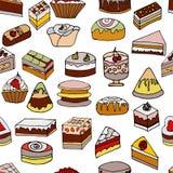Νόστιμο άνευ ραφής σχέδιο κέικ Διακοσμημένος με το χρωματισμένο πάγωμα διανυσματική απεικόνιση