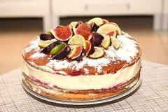 Νόστιμο αγροτικό κέικ μπισκότων με τα σύκα, τα λεμόνια και τις φέτες ασβεστών Στοκ εικόνες με δικαίωμα ελεύθερης χρήσης