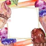 Νόστιμο παγωτό σε ένα ύφος watercolor Γλυκιά απεικόνιση υποβάθρου επιδορπίων ακουαρελών r στοκ εικόνα με δικαίωμα ελεύθερης χρήσης
