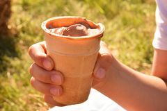 Νόστιμο παγωτό στο χέρι παιδιών Στοκ Εικόνες
