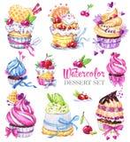 Νόστιμο σύνολο επιδορπίων Watercolor Αρχική συρμένη χέρι απεικόνιση Ζωηρόχρωμη νόστιμη εικόνα Καλή γλυκιά συλλογή για σας Στοκ Εικόνες