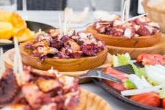 Νόστιμο της Γαλικίας μαγειρευμένο ύφος χταπόδι με τις πατάτες, το ελαιόλαδο πάπρικας και gallega pulpo Λα Στοκ φωτογραφίες με δικαίωμα ελεύθερης χρήσης
