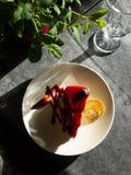 Νόστιμο φωτεινό ηλιόλουστο cheesecake κάτω από τις ακτίνες του ήλιου στοκ εικόνες