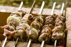 Νόστιμο χοιρινό κρέας με τα κρεμμύδια έτοιμα για ένα πικ-νίκ Στοκ Εικόνες
