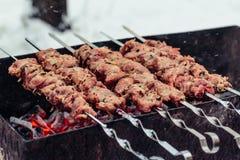 Νόστιμο ψημένο στη σχάρα κρέας στα οβελίδια μετάλλων στον ορειχαλκουργό το χειμώνα Ψημένο κρέας που μαγειρεύεται στη σχάρα BBQ φρ Στοκ Φωτογραφίες