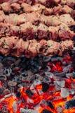 Νόστιμο ψημένο στη σχάρα κρέας στα οβελίδια μετάλλων στον ορειχαλκουργό το χειμώνα Ψημένο κρέας που μαγειρεύεται στη σχάρα BBQ φρ Στοκ Φωτογραφία