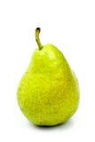 Νόστιμο ώριμο πράσινο αχλάδι με το φύλλο που απομονώνεται στο λευκό Στοκ Εικόνες