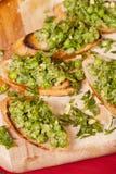 Νόστιμο bruschetta με τα πράσινα λαχανικά Στοκ Φωτογραφία